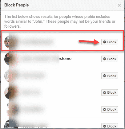 Click the Block Option and Profile Privacy
