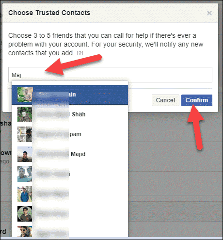 Choose Trusted Contacts to Recover Facebook Password