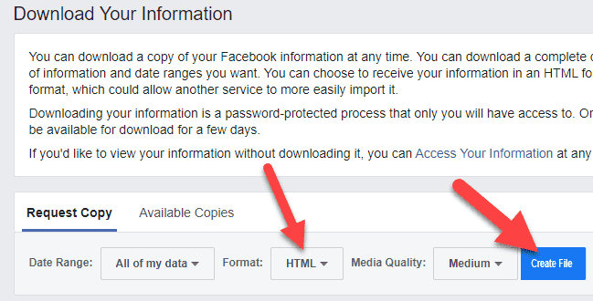 Deleted Message Facebook HTML and Create File