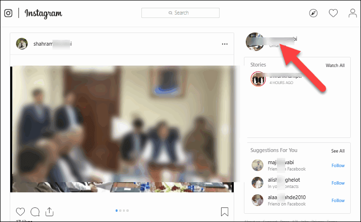 Open and Click Instagram Profile