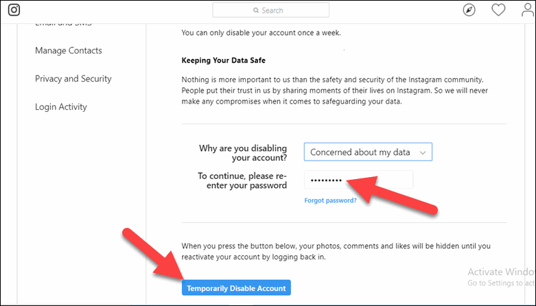 Re-enter Password and Temporarily Disable Account