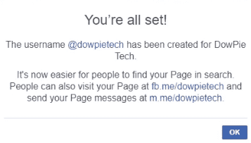 Username created for a Facebook Page