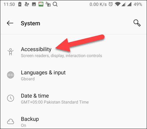 Select Accessibility option from System