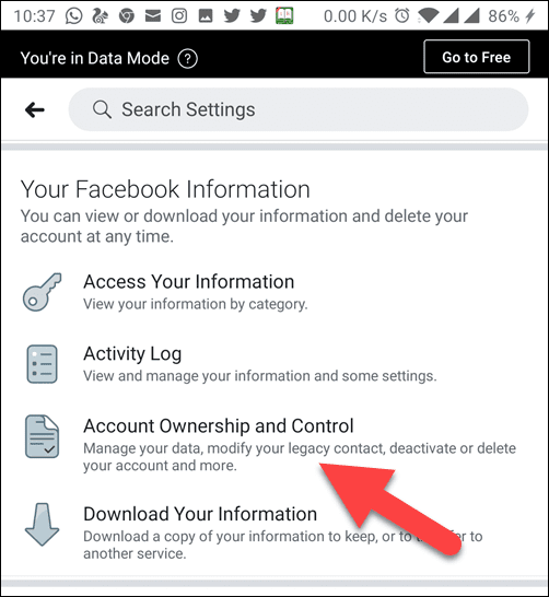 Account Ownership and control from Account Settings