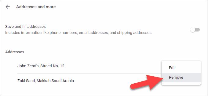 Remove Address and More
