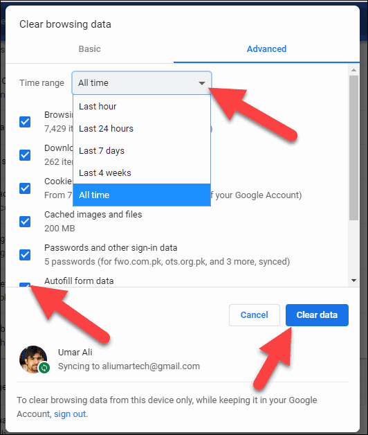 Click Advanced, All time, Autofill data and Clear data