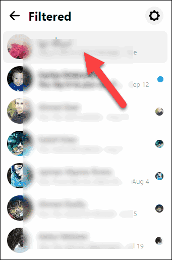Click the conversation from Filtered to Unignore