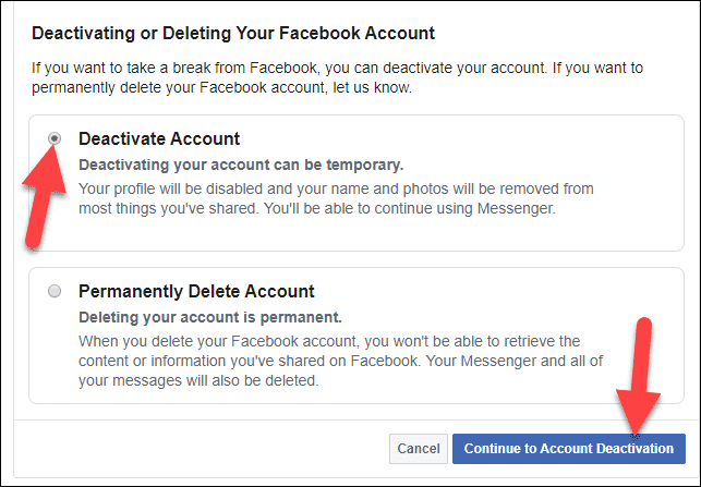 Deactivate Account Temporary and Continue or delete permanently