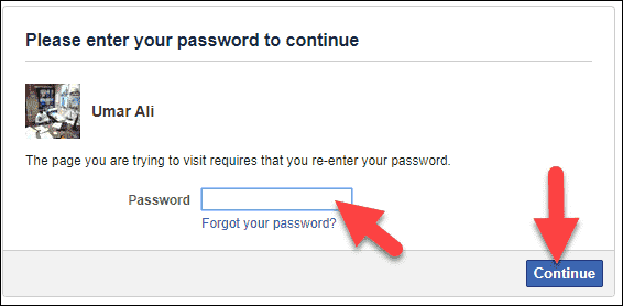 Enter your Password and continue