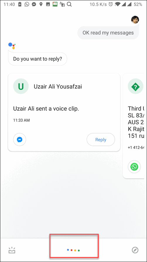 Google Assistant Activated and Read Aloud Text