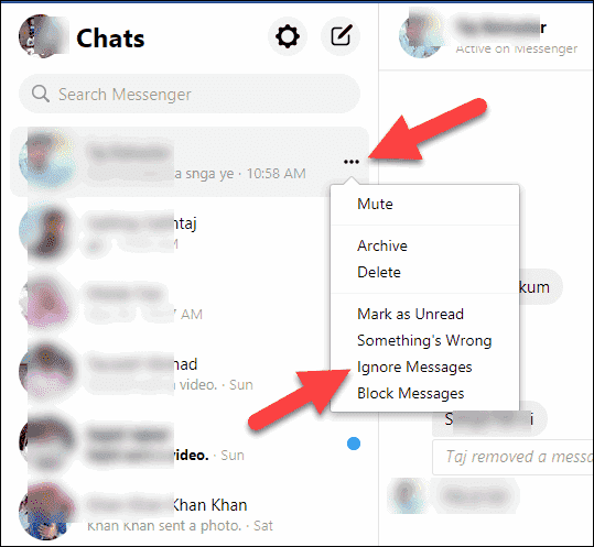 Click Three-dots and Ignor Messages option