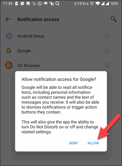 Tap Alow to Google Assistant Aloud Text
