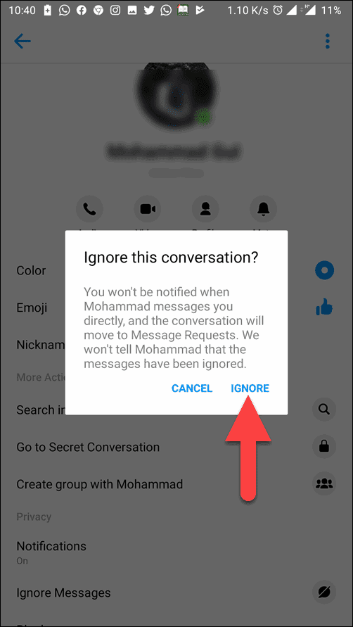 Tap to Ignor on confirmation window