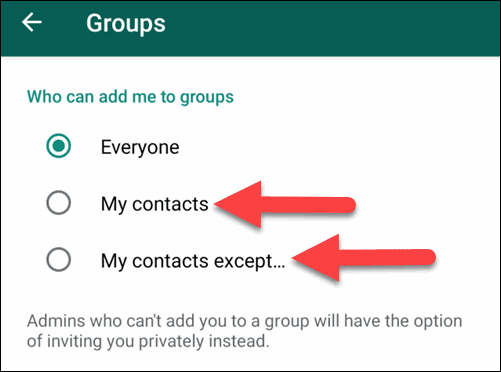 My Contacts and My Contacts except Under WhatsApp Group