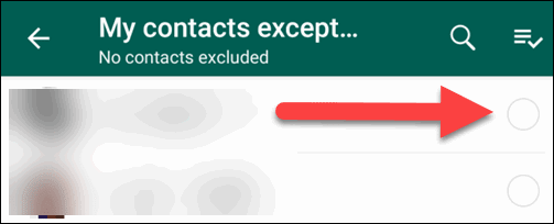 My Contacts except under WhatsApp Group