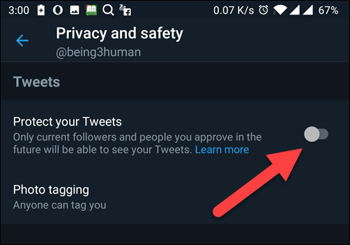 Protect Your Tweets tap on Toggle