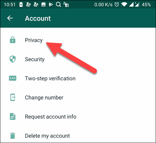 Tap on the Privacy Option