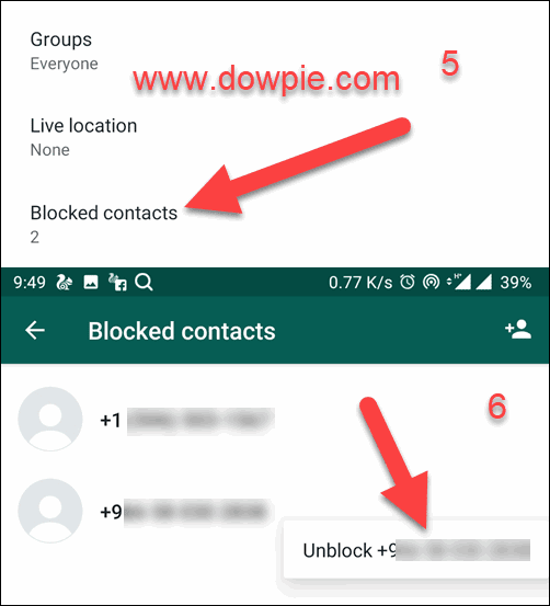 Blocked Contacts and tap Unblock number
