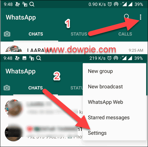 Open WhatsApp and tap Three-dots