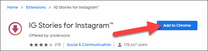 IG Stories For Instagram and Add to Chrome