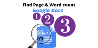 Find word count and page number Google Docs