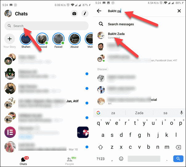 On the Messenger App and Type Name in Search Bar