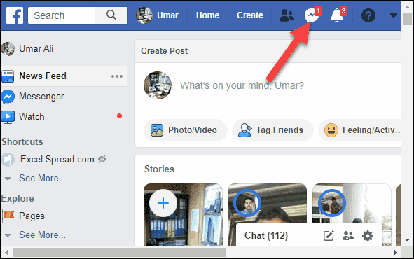 Open Facebook Account and Click on Messages icon-min
