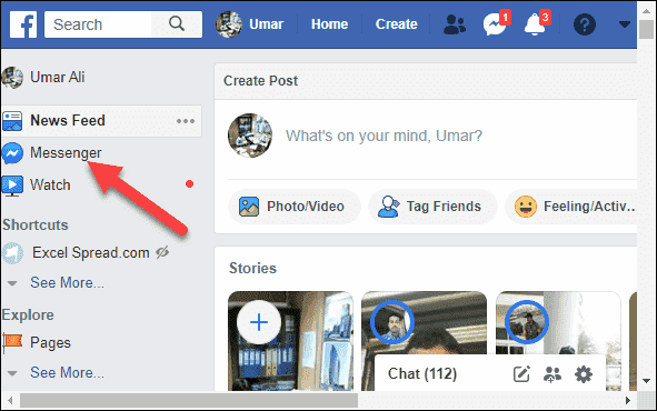 Open Facebook Account and Click on Messenger icon