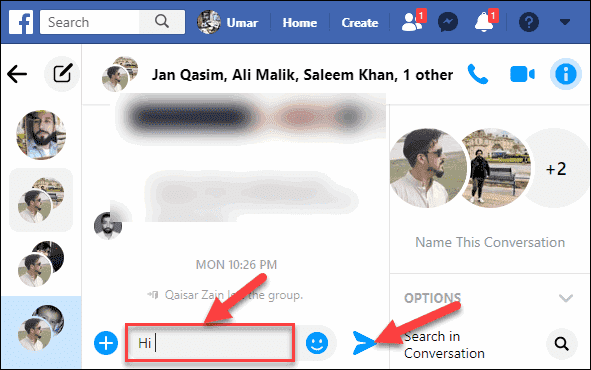 Type your Message and Press Send icon