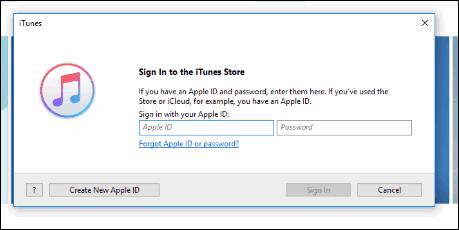 Sign In to the iTunes Store
