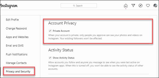Unmarked Checkbox to Left side Private Account to Make Publicly