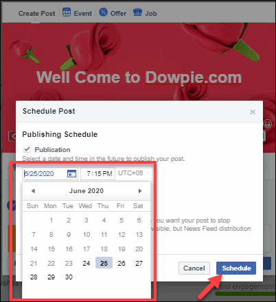 Choose date and Time Then Click on Schedule Button