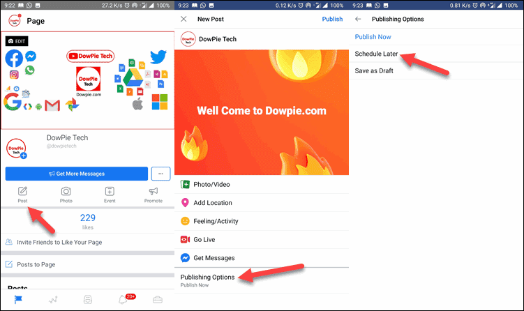 Go Facebook Page, Select Create Post, Publish Options, and Schedule Later