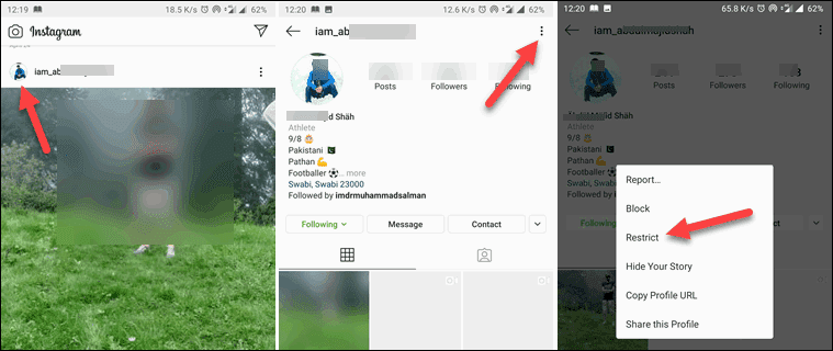 Tap to Open Someone Profile, Three-dots, & Restrict option