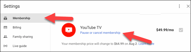 Click on the Membership and Pause or Cancel Membership