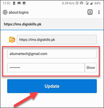 Edit Username and Password and tap Update