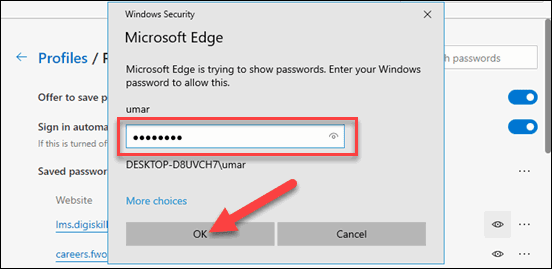 Enter Username and Password of Your Computer and OK