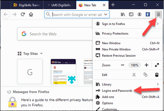 Open Firefox Browser, Click on the Main Menu, & Login and Passwords option