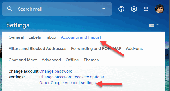 Select the Account and Import tab and Other Google Account settings
