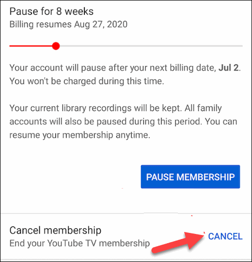 Tap on the Cancel option