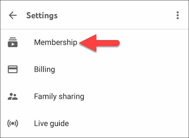 Tap on the Membership option under the Settings