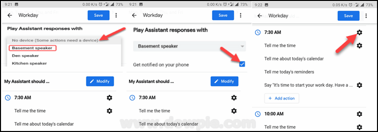 Play Assistant Responses with, Get Notified on Your Device, & Gear icon