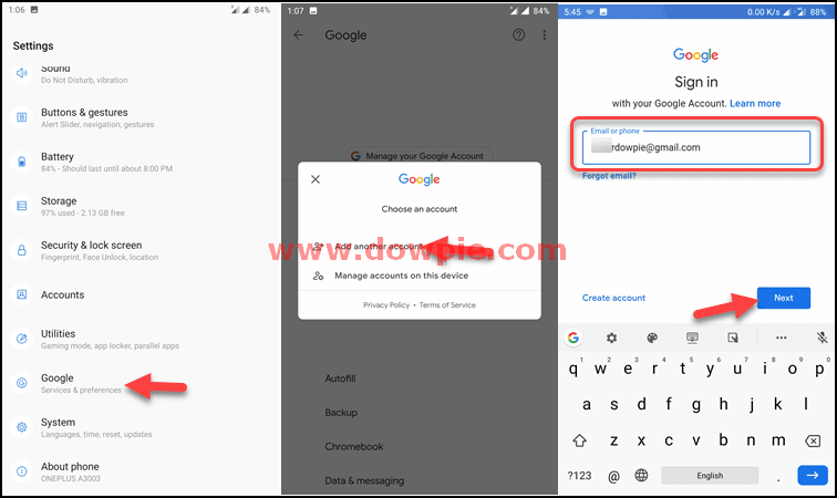 Go to Settings, Select Google Account, Add Another account and Enter your email address and next