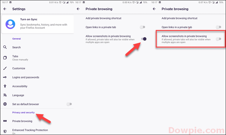 Disable or Default Screenshot in Private browsing in Firefox browser