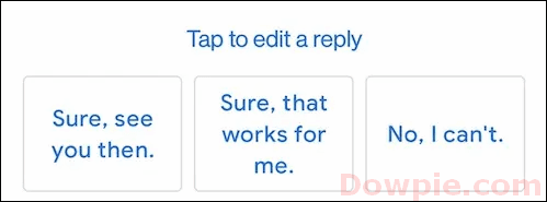 Gmail's Smart Reply feature showing quick replies