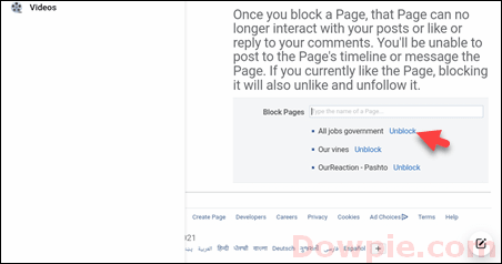 Select Unblock Link Under Block Pages Section
