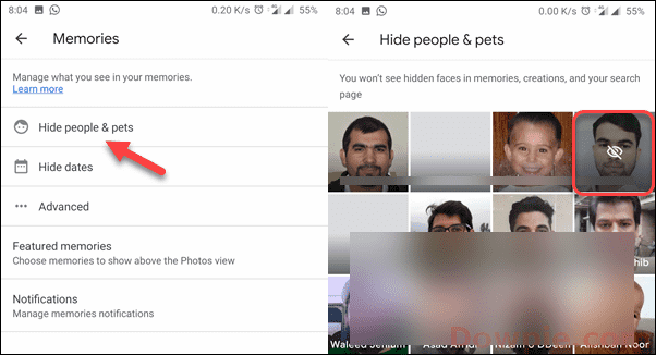 Hide People & Pets and Select photo