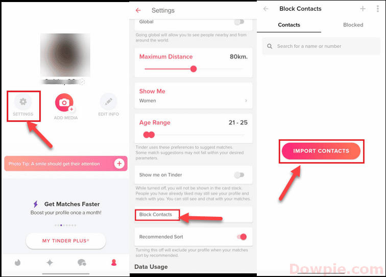 Open Tinder App Settings, Block Contacts and Import Contacts option