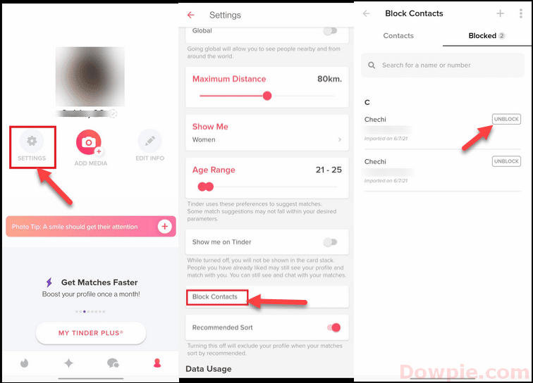 Open Tinder App Settings, Block Contacts and Unblock option