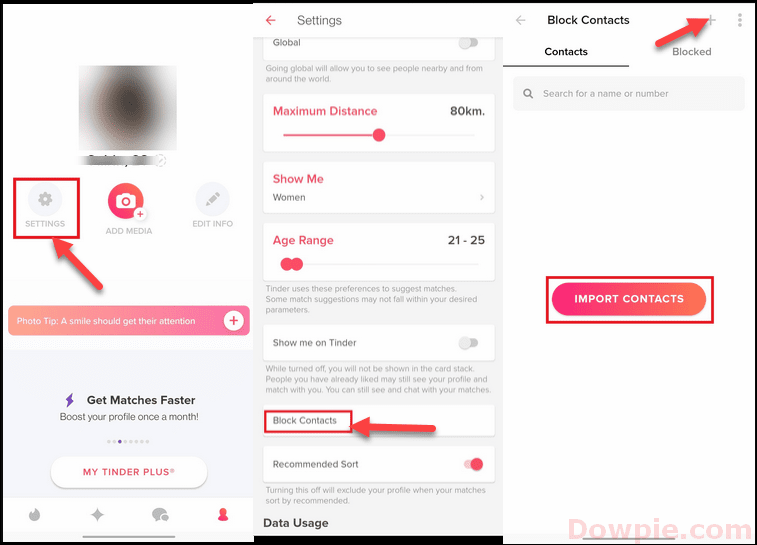 Select the + (plus) sign to add a contact in Tinder.